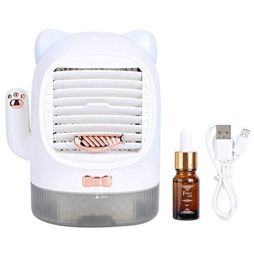 YAOTAOsm Lindo ventilador de escritorio portátil, refrigerador de aire de mesa, mini ventilador de aire acondicionado para el hogar, oficina, uso de viaje (blanco2)