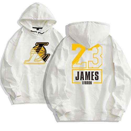 GLMAS Lakers # 23 James - Sudadera con capucha para baloncesto (tallas S-3XL), color blanco y XXL