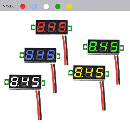DROK Red LED Panel Display Digital Voltmeter Small 0.28 DC 0~100V 12V Car Automotive Battery Monitor Voltage Meter Gauge 090551