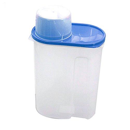 Bodhi2000 Plastique avec couvercle hermétique, idéal pour les aliments secs comme céréales, riz, pâtes, etc., Plastique, bleu, 2,5 l