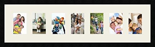Cadres Photos pêle mêle multivues Gris Argent 7 Photo(s) 10x15 Passe Partout, Cadre Photo Mural 95x25 cm Noir, 3 cm de Largeur