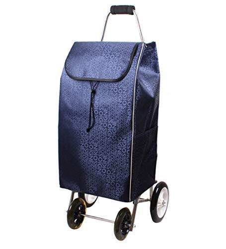 QIANGDA-Handwagen Einkaufstrolley Einkaufswagen Nicht Faltbar Edelstahlrahmen Mit Radlagern Abnehmbarer Rucksack, 5 Farben (Farbe : Blau)