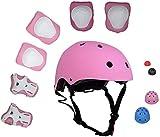 ZIMAX Protección Patinaje, Protección Infantil Consta de Casco Ajustable Rodilleras Coderas, Patinaje Ciclismo Monopatín y Deportes Extremos (Rosa)