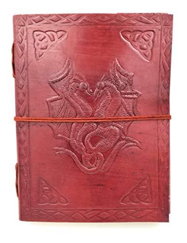 Chic & Zen–Taccuino, Blocco note, giornale, libro, Vera Pelle, Vintage, doppio Drago, 15cm x 20cm