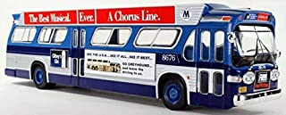 Iconic Replicas New York City Transit Authority Fishbowl Model Bus with Ad Wings Two Tone Blue 1:43 Scale