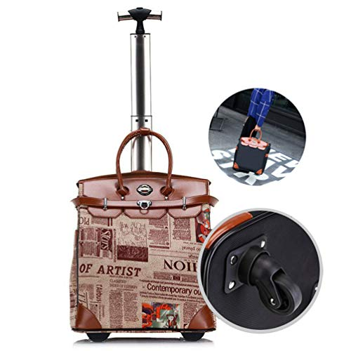 Portable Laptop Roller Case, Women Professional Travel and Commuter Briefcase Cabin Business Wheeled Laptop Case Universal Wheel Rolling Laptop Case Pilot Case Briefcase up to 18',Newspaper