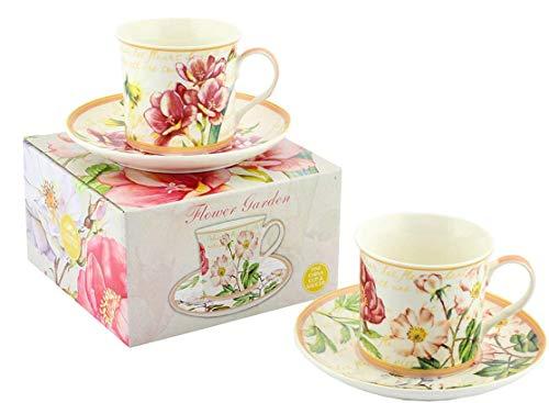 Lesser & Pavey Deux Tasses et Soucoupes Le Jardin des Fleurs