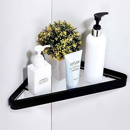 Shower Shelving Solution, Bathroom Tempered Glass Corner Shelf With Aluminum Frame, shower storage organizer wall mounted (Black)