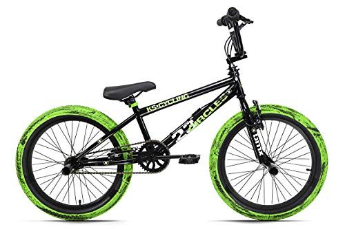 KS Cycling BMX Freestyle 20'' Circles schwarz-grün mit Muddy-Reifen