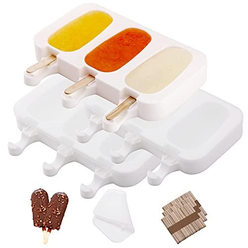 ACCEVO Moldes de Helado, 3 Pack Juego de Moldes para Polos con Tapas, DIY Popsicle Mold, Sin BPA, para Niños Adultos Postre Chocolate Bricolaje, con 150 Palos de Madera
