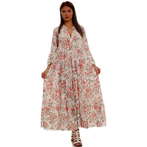 YC Fashion & Style Damen Boho Maxikleid Strandkleid Freizeit Sommer oder Herbstkleid Kleid Hippie Kleid Plus Size Made in Italy (One Size, Beige/Blumen)