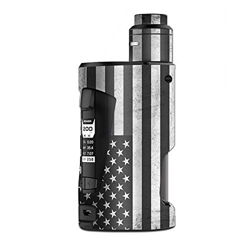 Skin Decal Vinyl Wrap for Geekvape GBox Squonk Kit 200W Vape Kit skins stickers cover / Black White Grunge Flag USA America