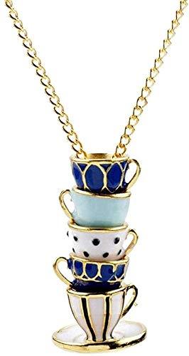 NC188 Collar Collar de Esmalte Collar Pintado a Mano Taza de té Tazas apiladas Colgante Collar Largo Forma de Taza de té Joyería para Hombres Collar con Colgante de Cadena para Mujeres Hombres