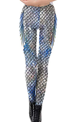 DELEY Damen Mädchen Kreative Mode Gestaltung Leggins Enge Hosen Stretch Strumpfhose Leggings Fisch-Skala-2