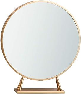 AINIYF Makeup Mirror Wrought Iron Gold Round Decorative Mirror Desktop Princess Mirror Desktop Mirror (Color : B, Size : 50CM)