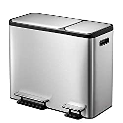 EKO Dual Compartment Stainless Steel Recycle Step Trash Can