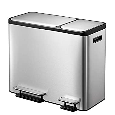 EKO Dual Compartment Stainless Steel Recycle Step Trash Can, 30L + 15L