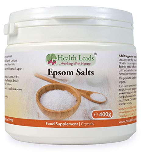 Pure, Food Grade Epsom Salts 400g, Magnesium Sulphate, Vegan, Non-GMO, Widely Used to Help Relax Aching and Tired Muscles After Sports and Exercise, Resealable Container, Easy to Use