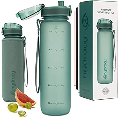 Hydracy Water Bottle with Time Marker - Large 500 ml 17 Oz BPA Free Water Bottle - Leak Proof & No Sweat Gym Bottle with Fruit Infuser Strainer - Ideal for Fitness or Sports & Outdoors MoonlightGreen