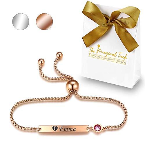 TMT Personalisiertes Geburtsstein Armband mit Gravur | Silber Rose-gold | mit namen für Frauen und Mädchen Identitätsarmband Namensarmband BFF Bridesmaid Geburtstag Geschenk