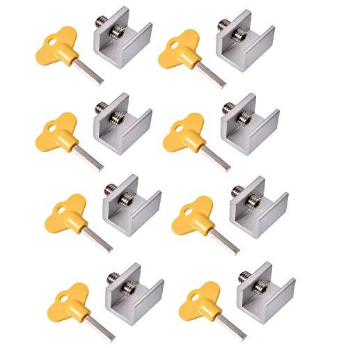 Magiin 8Pcs Cerradura de Seguridad de Aleación de Aluminio Ajustable para Puertas y Ventanas con Cerradura de Seguridad y Llaves Protección de Seguridad de Niños