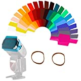 Kit Filtro Colorato Per Illuminazione Fotografica Flash Speedlite,Trasparente Per Correzione di Colore e Illuminazione in Plastica con Elastico di Montaggio da Studio,(20 Compresse)