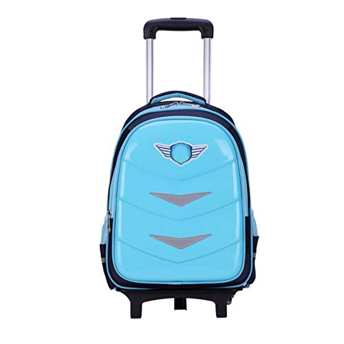 YQY Wheeled Backpack Adorable Trolley School Bag Luggage on Wheels Kids Trolley Backpack Rolling School Backpack for Boys,B