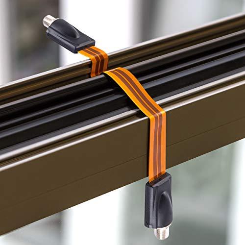 『kwmobile フラットケーブル アンテナ 室内 引き込み - 衛星 接続 隙間ケーブル F型 窓 ドア - 平面 防水 アンテナケーブル オレンジ』の2枚目の画像