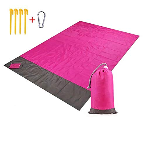 JGHGO Beach Blanket Sand Proof Waterproof, Quick Drying Compact Beach, Sand Free Beach Outdoor Mat Picnic Blanket Portable Mini Lightweight Folding Pocket Blanket for Camping (82.67 * 78.74in,Red)