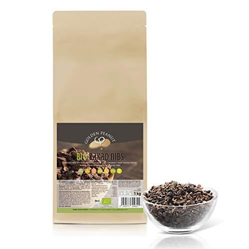 Bio Kakao Nibs 1 kg | gebrochene Kakaobohnen | ohne Zusätze | Rohkostqualität| vegan | Bio zertifiziert DE-ÖKO-003 | Golden Peanut