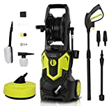 1650W 135Bar 420L/H Electric Jet Washer Pressure Washer, Portable Car Power Washer Jet Washer Patio Cleaner with Brush, Turbo Nozzle, Adjustable Nozzle Accessories for Garden Car Patio Yard Driveways