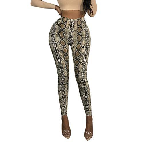 SALUCIA Damen Schlangenmuster Leggings Mode High Waist Leggins Fitness Hose Push Up Stretch Workout Yoga Sport Fitnesshose Tights Laufhose