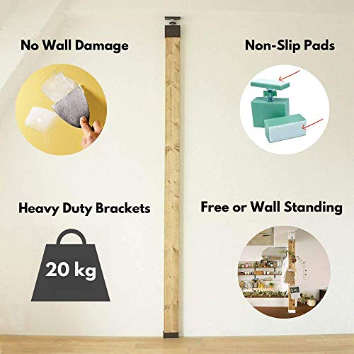 2 x 4 Brackets to Build Vertical Storage, DIY Wall Shelves and Decorative Posts | No Tool Assembly of a Sturdy Floor to Ceiling Wood Post | No Wall Damage – Great for Rental Properties and Apartments