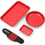SEDY 4-Pieces Large Magnetic Parts Tray Set with Magnetic Wristband, Magnetic Tool Trays, MGSS Stainless Steel 9.5' x 5.5' Rectangular / 6' diameter round / 3.74' x 2.55' Mini
