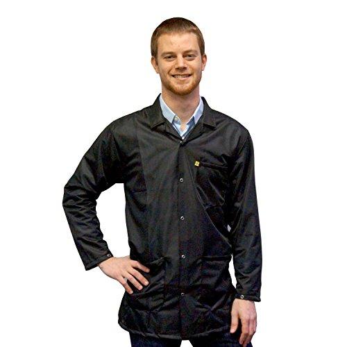 StaticTek Full Sleeve Snap Cuff ESD Jacket | Anti-Static Lab Coat | Certified Level 3 Static Shielding | Light Weight | ESD Smocks with High ESD Protection | Medium | Black | TT_JKC9023SPBK