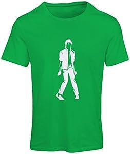 lepni.me Camiseta Mujer Me Encanta M J - Rey del Pop, 80s, 90s Músicamente Camisa, Ropa de Fiesta (Large Verde Blanco)