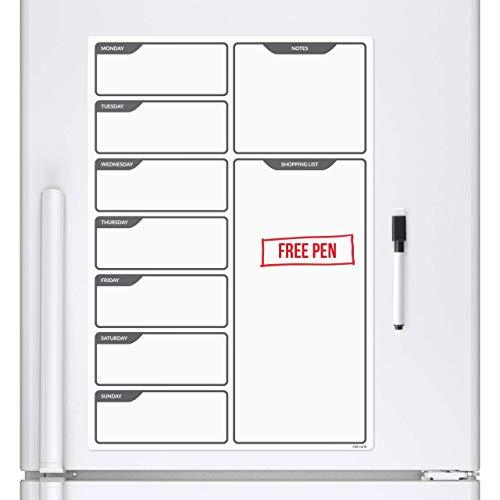 Tablero magnético blanco para nevera, planificador semanal, pizarra recordatorio para la nevera, con rotulador (incluye marcadores, borrado en seco), de CKB Ltd®