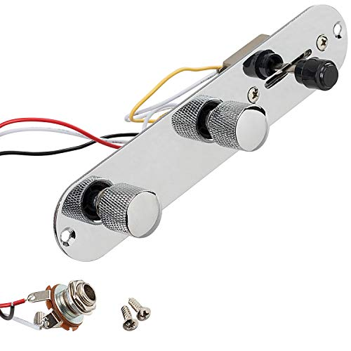 PAGOW Guitar Control Plate, 3 Way Loaded Switch Wiring Harness Knobs with Mounting Screws, Silver Panel Control for Fender Telecaster Guitar
