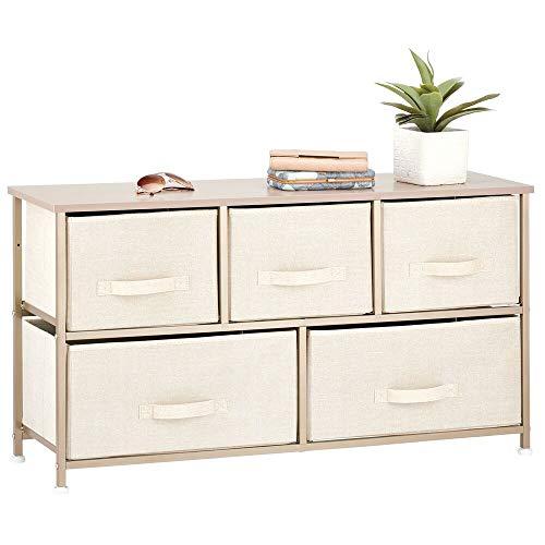 mDesign Kommode mit 5 Schubladen – breiter Schubladenschrank für Schlafzimmer, Wohnzimmer oder Flur – Kleiderkommode mit Strukturdesign aus Metall, MDF und Stoff – cremefarben/goldfarben