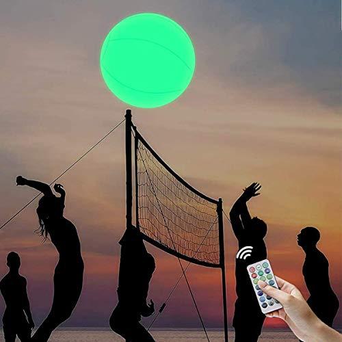 Bola de playa de 16 colores, LED inflable que enciende la bola de playa con control remoto para la playa de la piscina partido juegos al aire libre