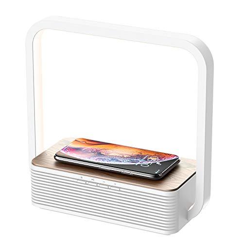 WILIT A15B Lampe Chevet LED Tactile, Chargeur sans Fil et Haut-Parleur Bluetooth, Lampe de Table Dimmable en Bois, 60 LEDs, Chargeur à Induction Qi pour Samsung Galaxy S10/Note 10, iPhone 11/XS/XR/8