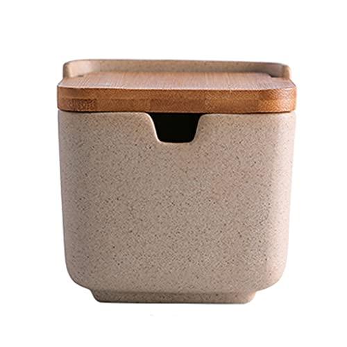 Spice Jar Tarro de condimento de cerámica de 3 Piezas Tarro de Especias de 8.7 oz con Tapa de bambú y Cuchara Adecuado para Caja de Almacenamiento de Cocina