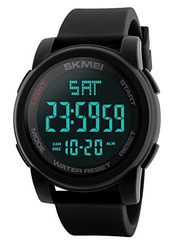 FunkyTop Herren Jungen Uhren Männer LED Klassisch Dual Zeitanzeige Militär Uhr Wecker Kalender Sport Stoppuhr Tactical Watch wasserdichte Armbanduhr für Herren (Schwarz)