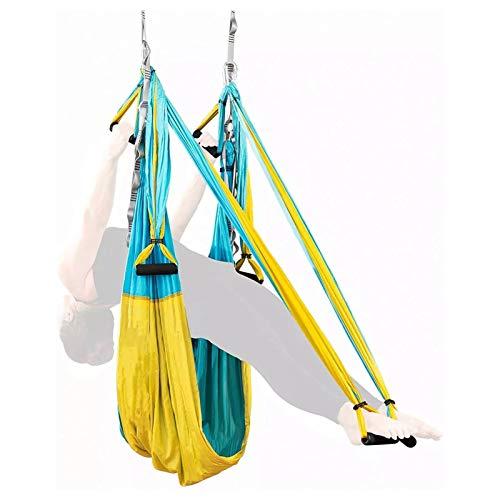 Juego de columpio aéreo de yoga, hamaca antigravedad, columpio aéreo, sedas, yoga, pilates, incluye mosquetones de acero, correas de extensión, azul cielo y amarillo