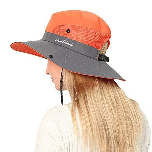 Dasongff Sombrero de sol para mujer, de ala ancha, protección UV, plegable, para senderismo, pesca, secado rápido, para jardinería, viajes, senderismo, pesca