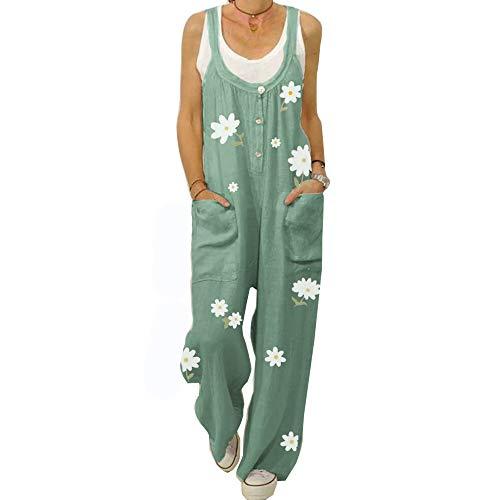 Blumen Jumpsuit Damen Sommer Boho Overall Baumwolle Baggy Latzhose, Morbuy große Größe Sommerhose Taschen Hosenanzug Playsuit Harem Hose (XL,Grün)