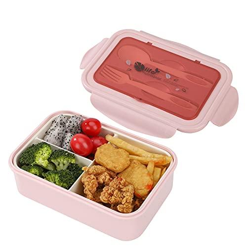Bento Box per Bambini e Adulti, 1400 ml Porta Pranzo Kids con 3 Scomparti e Posate, Riutilizzabile Ermetici Lunch Box, Senza BPA, Microonde, lavabile in lavastoviglie (Rosa)