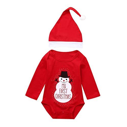 Sanahy Mono Combinación Navidad Bebé Ropa Niña Invierno Pijama Pijama Pijama Pijama Pijama Pijama Pijama Pijama Pijama Ropa + Gorro de Navidad Rojo 100 cm