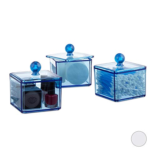 Relaxdays Wattestäbchen Aufbewahrung, 3er Set, mit Deckel, Wattepads, Kosmetik, rechteckig, Bad Utensilien, blau