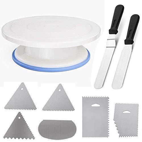 Plateau Tournant Gâteau, Support à Gâteau et Pâtisserie,Gâteau Plaque Pivotant en Plastique pour Décoration et Anniversaire